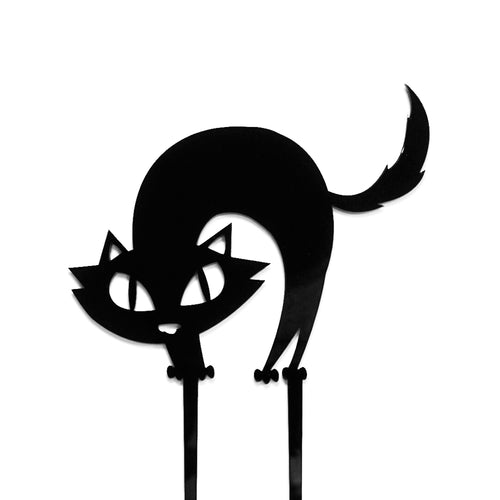 Black acrylic spooked cat halloween cake topper