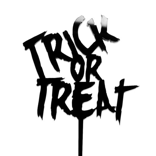 "Black acrylic ""Trick or Treat"" halloween cake topper"