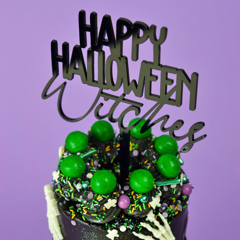 Happy Halloween Witches Cake Topper on Cake Close-up by Carola Bruno - Zoiandco