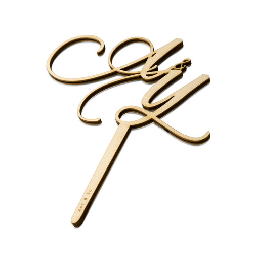 Elegant Couple Monogram - Cake Topper - Front View - Zoiandco