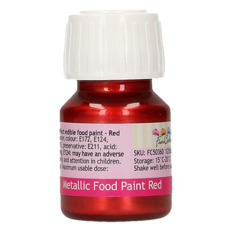 FunColours Metallic Food Paint -Red- 30ml