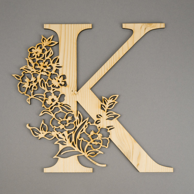 Floral Monogram Wood Front - Sign - Zoi&Co