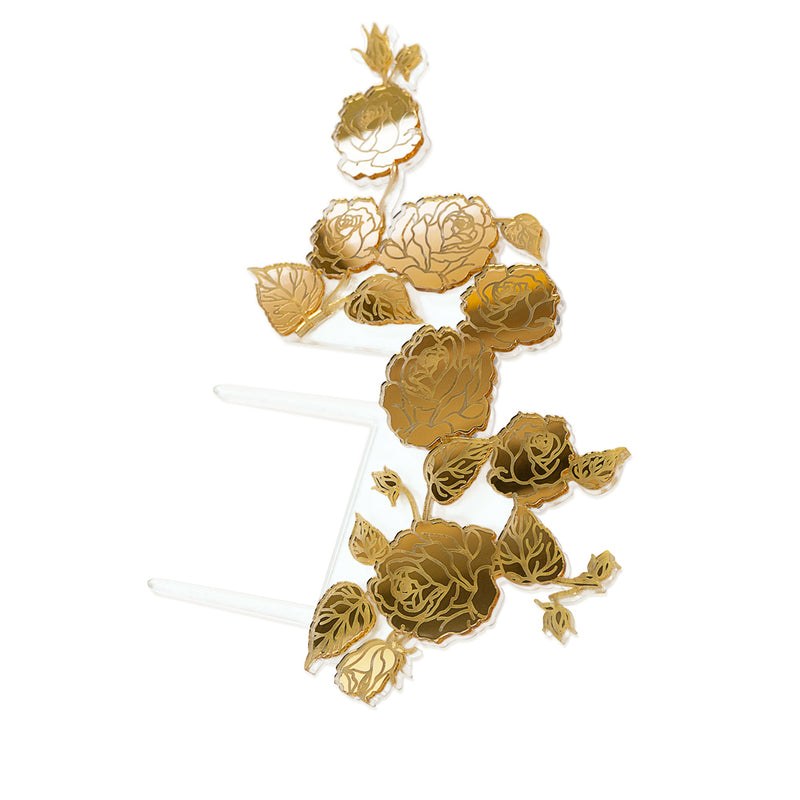 Gold floral side wedding cake topper