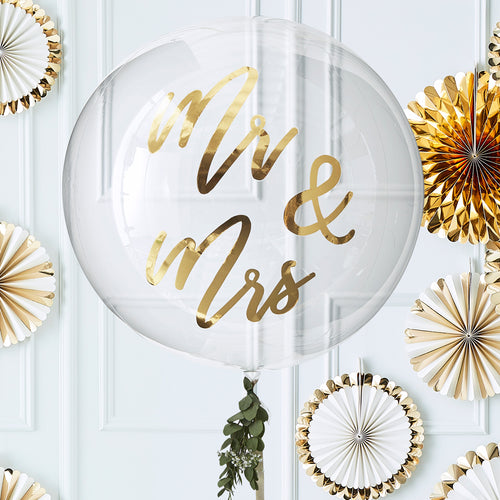 Gold Mr & Mrs - Giant Orb Balloon - Zoi&Co
