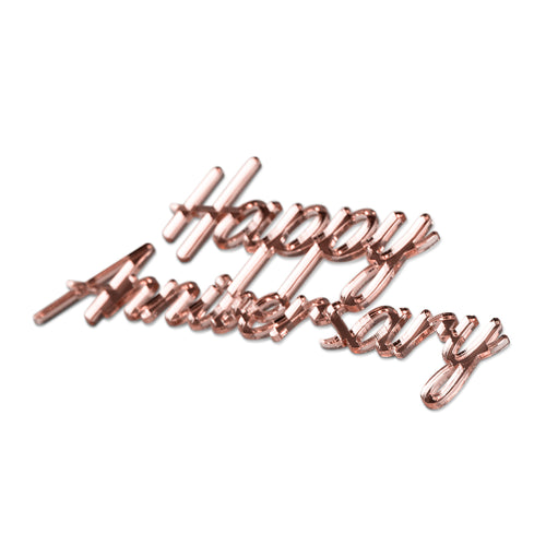Happy Anniversary in rose gold mirror - Cake Charm - Front View - Zoi&Co