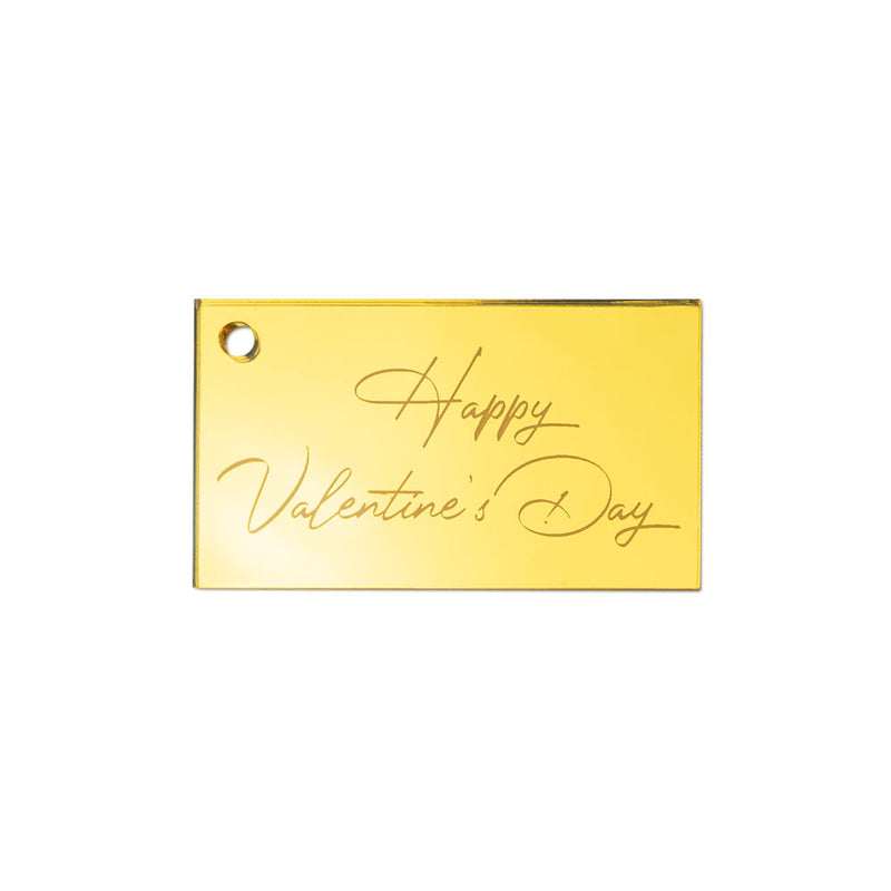 Happy Valentine's Calligraphy Gift Tag Front View Zoiandco