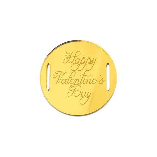 Happy Valentine's Day Classic Round Gift Tag Front View Zoiandco