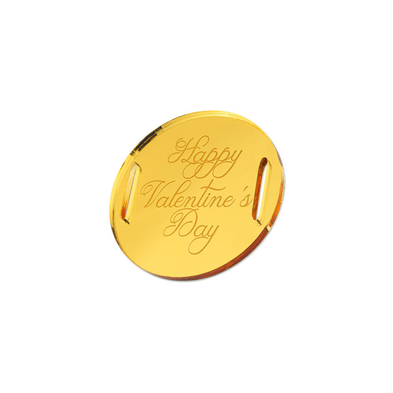 Happy Valentine's Day Classic Round Gift Tag Side View Zoiandco