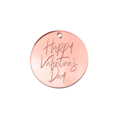 Happy Valentine's Day Mona Round Gift Tag Front View Zoiandco