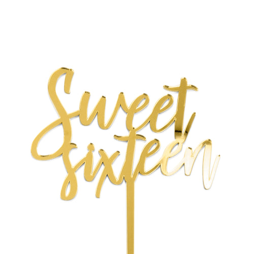 "acrylic gold mirror ""sweet sixteen"" birthday cake topper"