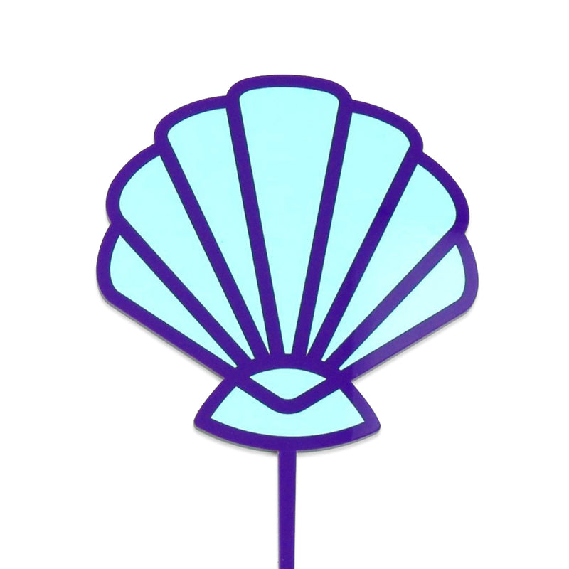 Blue and purple acrylic seashell cake topper