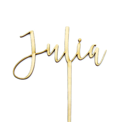"Wooden ""Julia"" cake topper"
