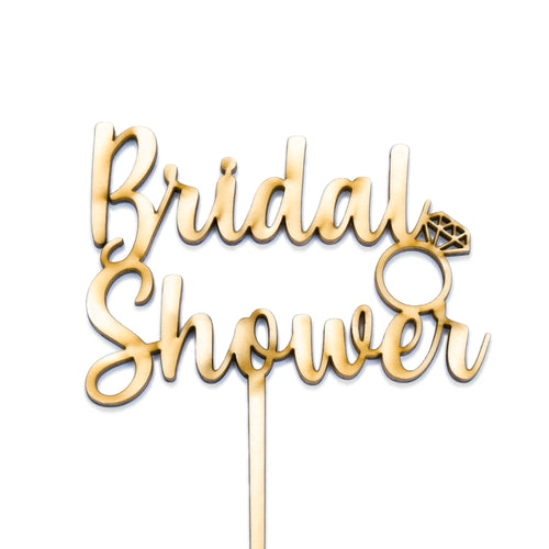 "Wooden ""Bridal Shower"" with ring cake topper"