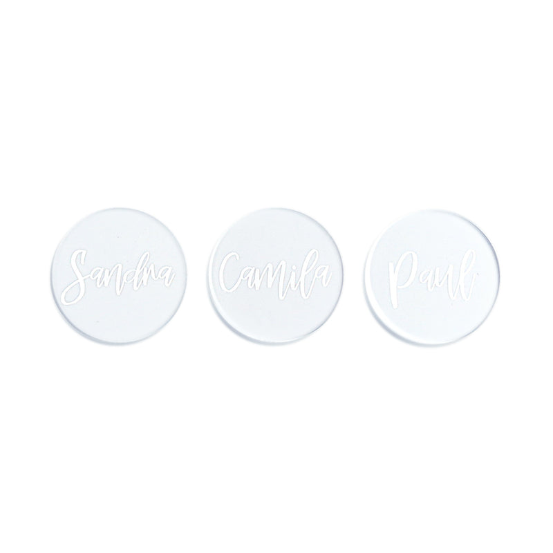 3 transparent acrylic place tags with engraved names