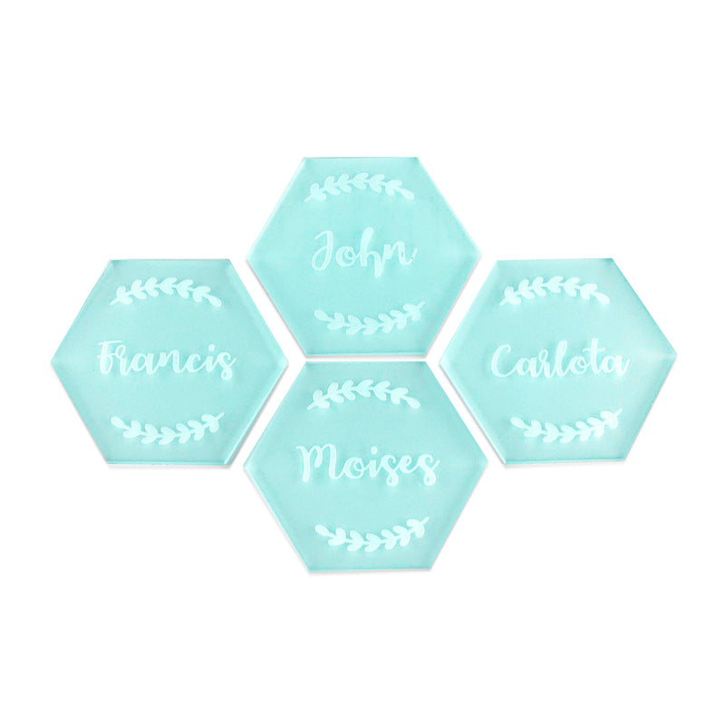 4 frosted mint acrylic place cards with engraved names and wreaths