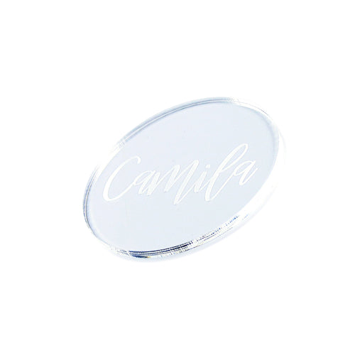 transparent acrylic place tag with engraved name