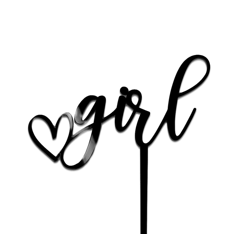 "Black acrylic ""girl"" cake topper with a heart before the word ""girl"""