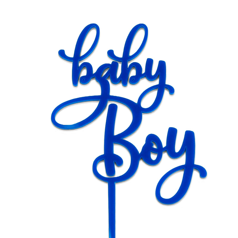 "Blue acrylic ""baby Boy"" baby shower cake topper"