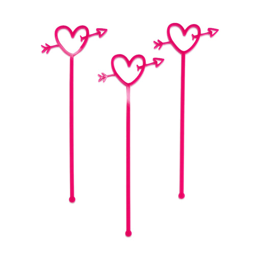 3 Pink acrylic heart with arrow drink sticks