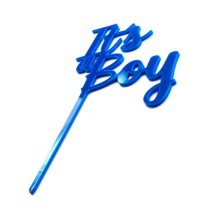"Blue acrylic ""Its a boy"" cake topper"
