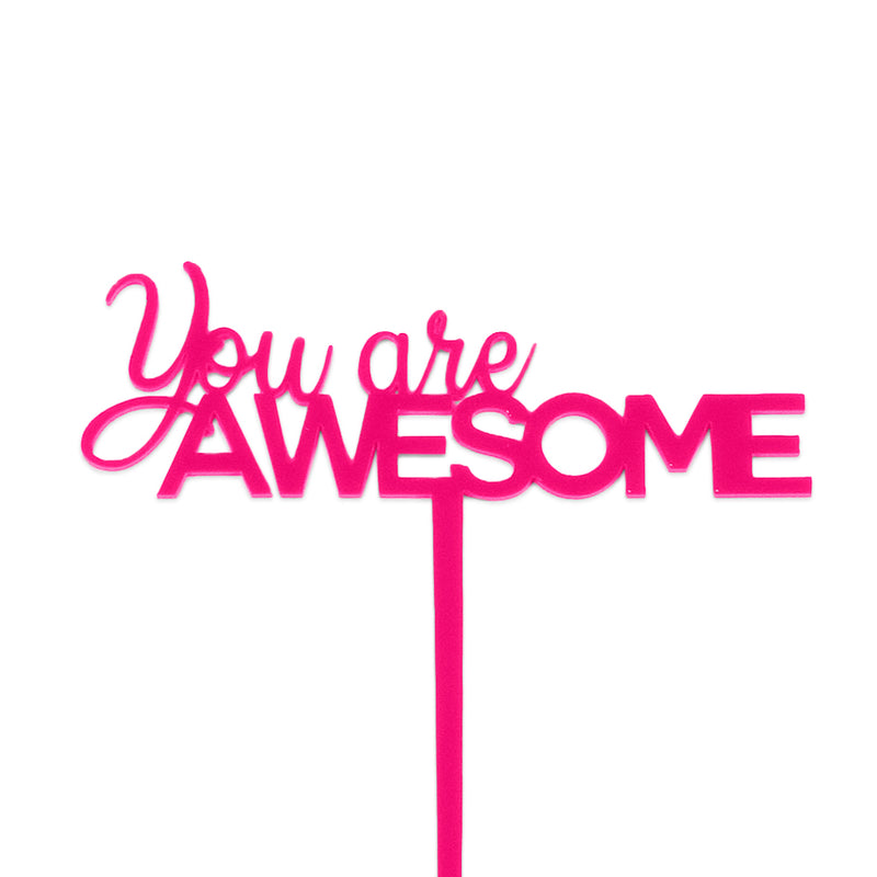 "Pink acrylic ""You are awesome"" cake topper"