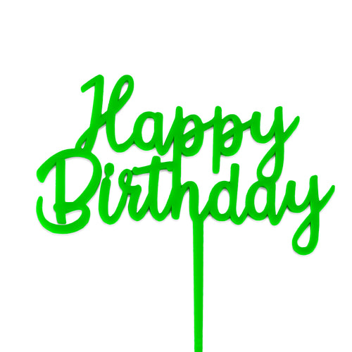 "Slime Green Acrylic ""Happy Birthday"" Cake Topper"