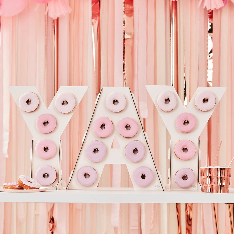 """YAY"" Donut wall on table"