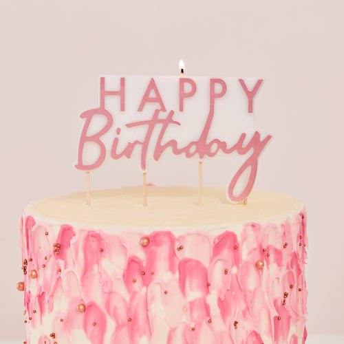Rose Gold Happy Birthday - Candle - Zoi&Co