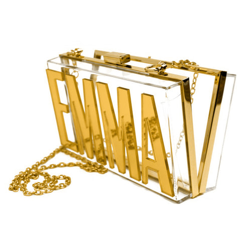 Transparent clutch with acrylic gold mirror name