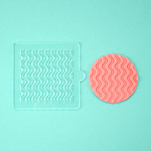 Groovy Waves - Tile Embosser w/ example - front view - Zoi&Co