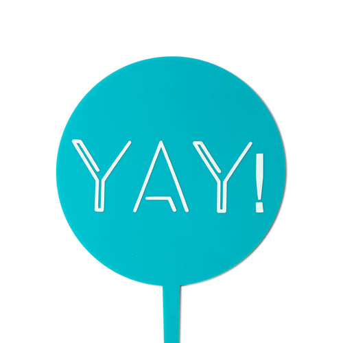 """Yay!"" Turquoise Paddle - Cake Topper - Front View - Zoi&Co"