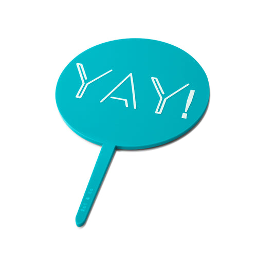 """Yay!"" Turquoise Paddle - Cake Topper - Side View - Zoi&Co"
