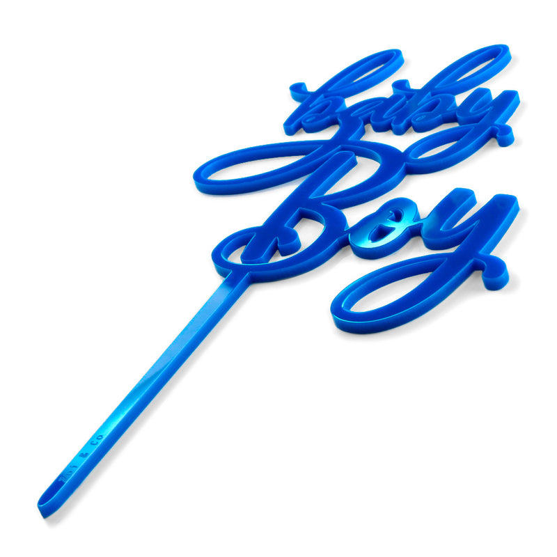 "Blue acrylic ""baby Boy"" baby shower cake topper side"