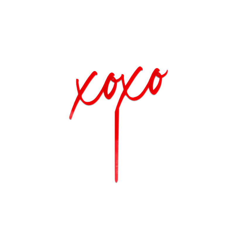"Red acrylic ""xoxo"" cake topper"