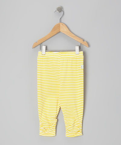 Organic Skinny Capri Legging - Yellow Stripe