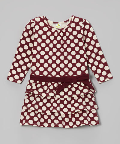 Organic Ruffle Dress - Maroon Dot