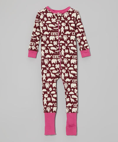 Organic Flip Foot Sleeper - Maroon Wonder