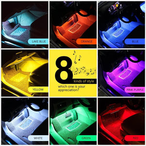 RGB Car LED Light Strips, Sound Activated with Remote Control, 48
