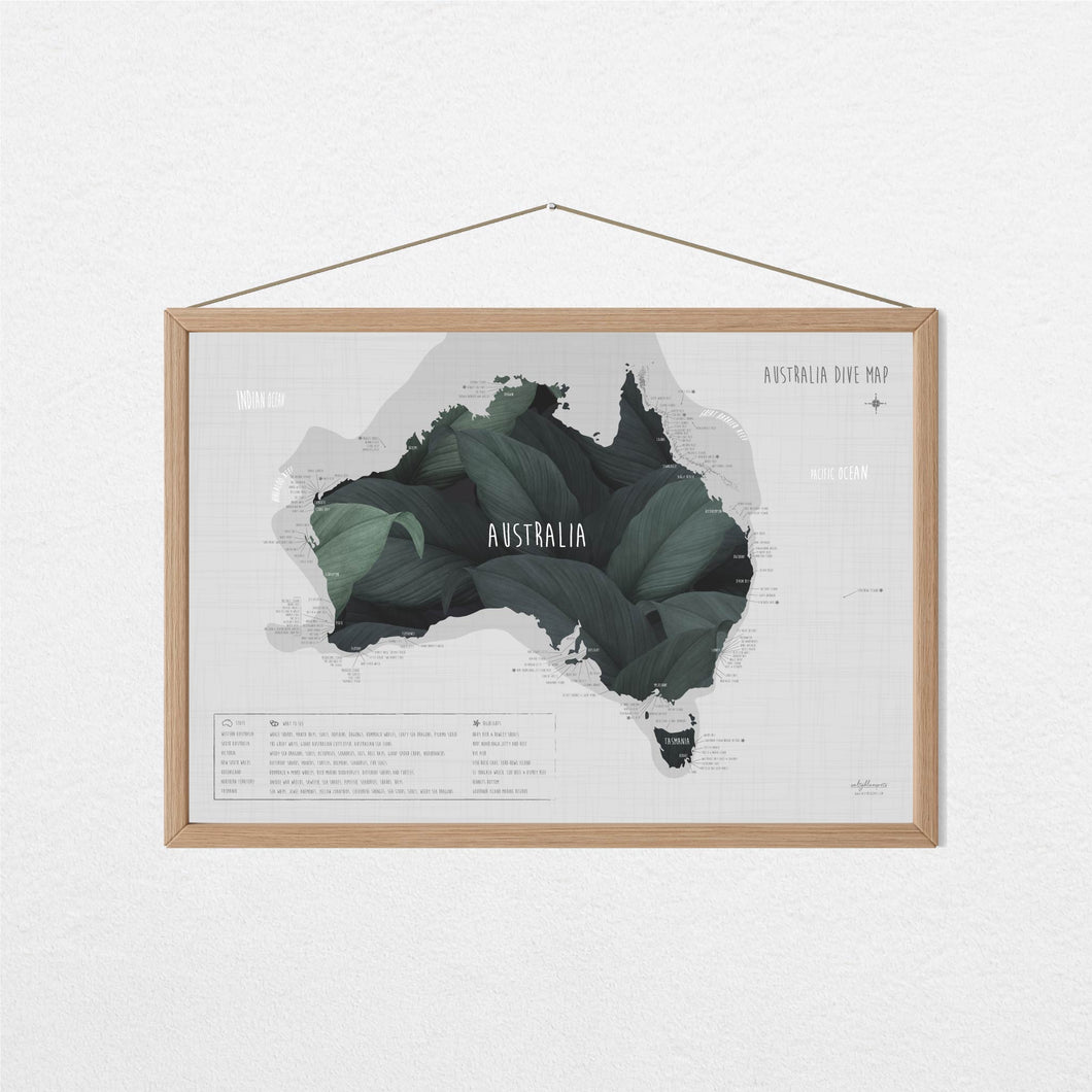 our australia dive map is sprinkled with australia's best dive spots and it's a perfect gift for divers or to reminisce your dive trip.