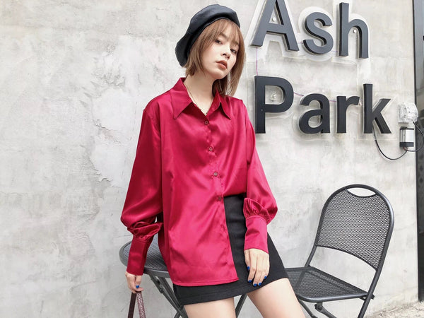 2020 Bright Wine Red Long sleeve Satin Shirt Like Silk Casual Women Lapel Hem Irregular Elegant Blouse Loose Tops Korean Clothes