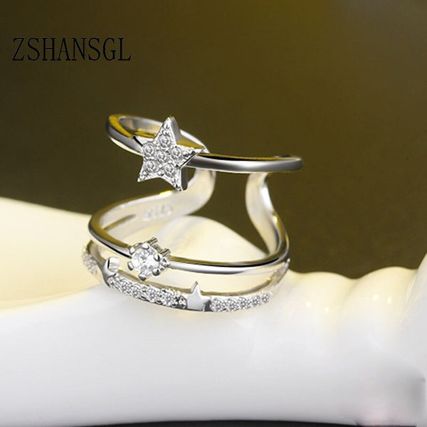 925 Silver filled Multi-layer AAA CZ Zircon Crystal Star Rings for Women Anillos Resizable Rings Bague Jewelry Stackable Rings