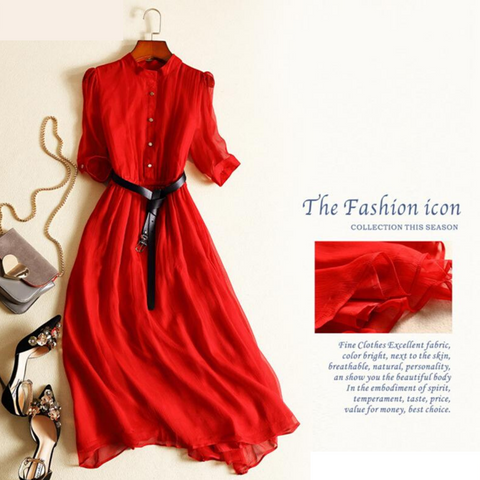 100% Real Silk Summer Dress Women Clothes Vintage Elegant Maxi Dress 2020 Ladies Dresses Office Red Dress with Belt Vestidos