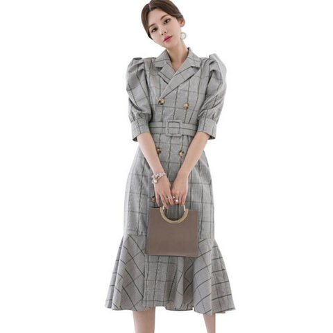 Korean Women Autumn Notched Neck Plaid Ruffles Dress Vintage OL Double Breasted Midi Mermaid Dresses Vestidos Plus Size