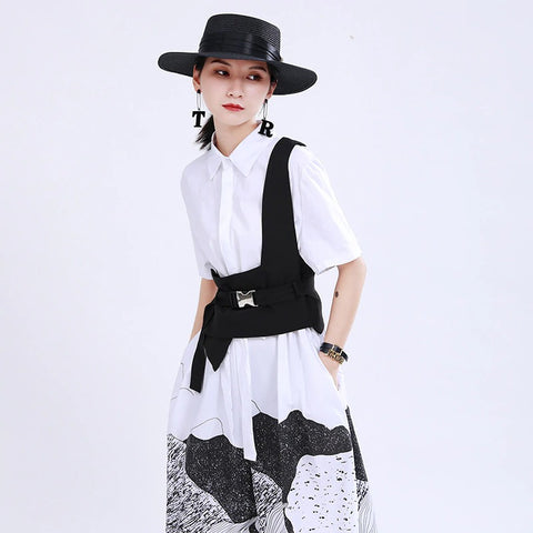 Women Black Patttern Printed Drawstring Shirt Dress New Lapel Short Sleeve Loose Fit Fashion Tide Spring Summer 2020 1U172