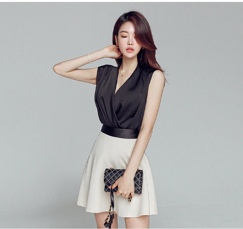 Women Suit skirt Fashion Summer Sleeveless Korean Mini Skirt Office Set