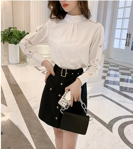Autumn Half Turtle-neck White Shirts Women OL Golden Buttons Business Shirt Full Sleeve Casual Work Wear Blouse
