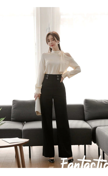 Suit pants New Strapless Fashion High Waist Long Pants Business 2 Pieces Suits OL Set Work Wear Playsuits