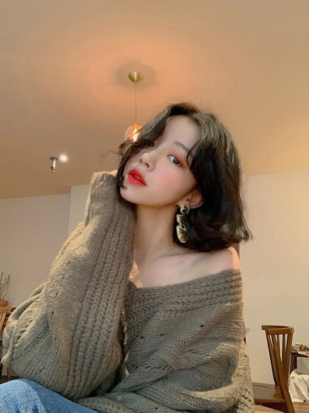 Fashion Casual V-neck Female Knitting Pullovers Korean Jumpers Knitted Sweater Women new Autumn Winter Sweater
