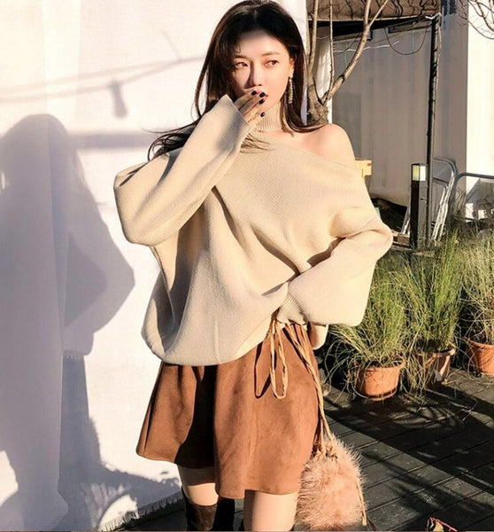 Knit Tops 2020 Turtleneck Cold-shoulder Loose Women Knitted Pullover Winter Casual Solid Sweater Jumpers