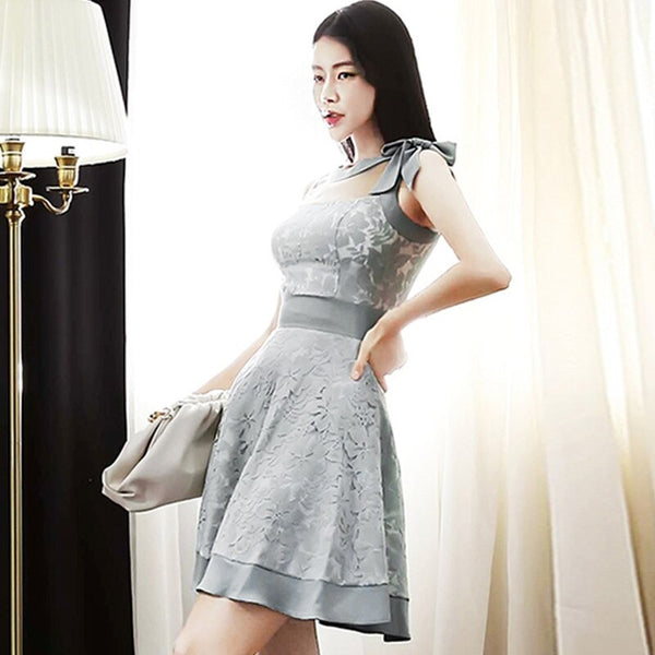 New Arrival Sleeveless A-line Dress Fashion Vintage Bow Elegant Women Party Dresses Korean Simple Occupation Vestido